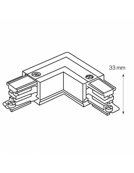 Conector L izquierdo para carril trifásico de focos de carril led. Dibujo técnico.