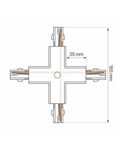 Conector x en cruz para carril trifásico de focos de carril. Conexión en cruzado, x.