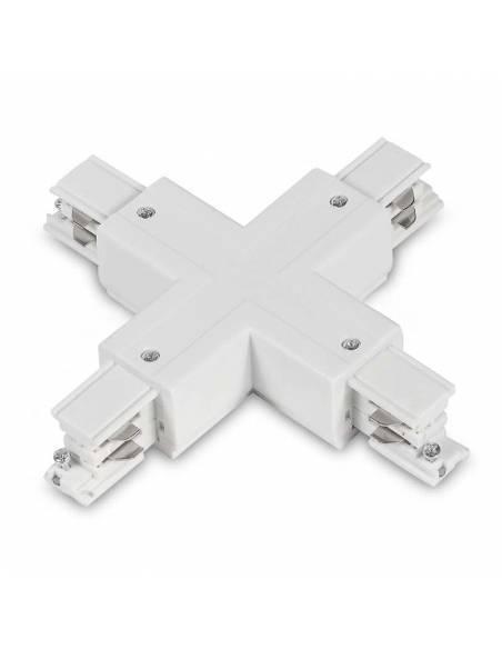 Conector x en cruz para carril trifásico de focos de carril. Color blanco.
