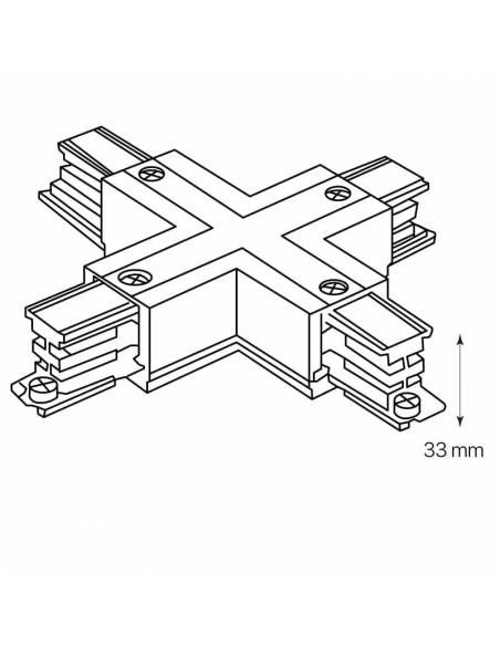 Conector x en cruz para carril trifásico de focos de carril. Dibujo técnico.