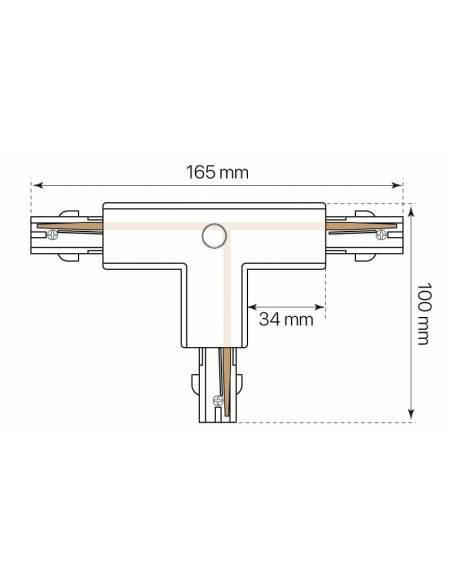 Conector T para carril trifásico con conexión izquierda-1. Dibujo de conexión izquierda-1.