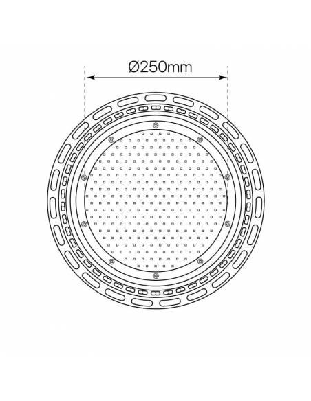 Campana industrial led modelo ONO de 100W, dibujo dimensiones de superficie luminosa.