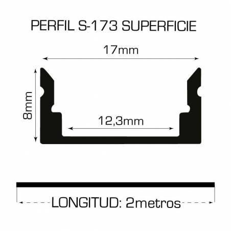 Perfil de aluminio para tiras LED, S-173 de SUPERFICIE (2 metros). Medidas y dimensiones.