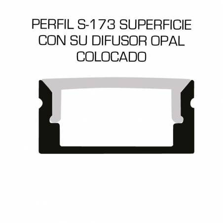 Perfil de aluminio para tiras LED, S-173 de SUPERFICIE (2 metros). Dibujo técnico.