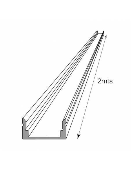 Perfil de aluminio para tiras LED, S-173 de SUPERFICIE (2 metros). Dibujo técnico y longitud.