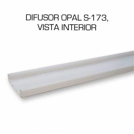 Difusor opal para perfil aluminio S-173 de 2 metros. Vista interior.
