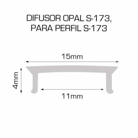 Difusor opal para perfil aluminio S-173 de 2 metros. Dibujo técnico medidas.