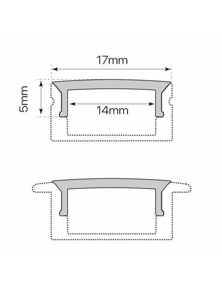 Difusor opal para perfil aluminio S-173 de 2 metros. Dibujo técnico montado en el perfil.