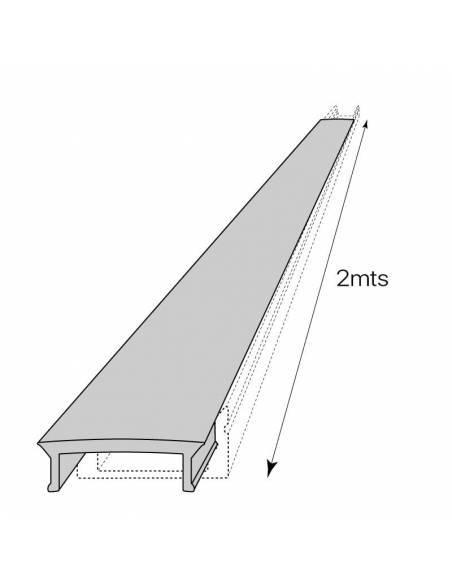 Difusor opal para perfil aluminio S-173 de 2 metros. Dibujo técnico longitud.