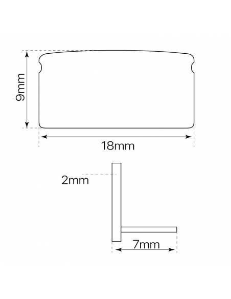 Tapa final para perfil aluminio S-173 de superficie. Dimensiones y medidas.