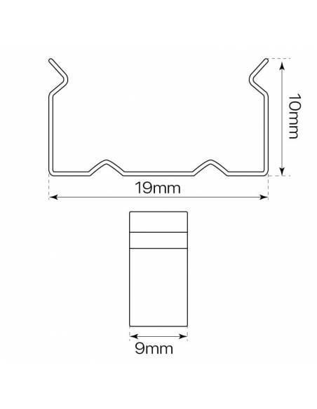 Clip metálico para perfiles aluminio S-172 de dos metros, superficie o empotrable. Dimensiones y medidas.