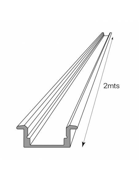 Perfil de aluminio para tiras LED, S-173 de EMPOTRAR (2 metros). Longitud.