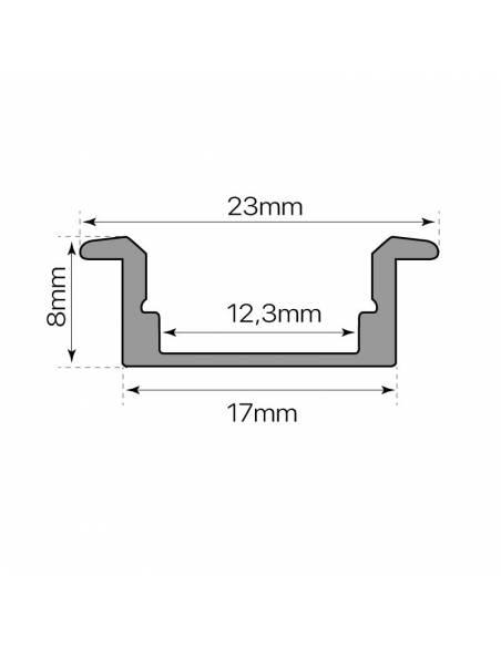 Perfil de aluminio para tiras LED, S-173 de EMPOTRAR (2 metros). Medidas y dimensiones.