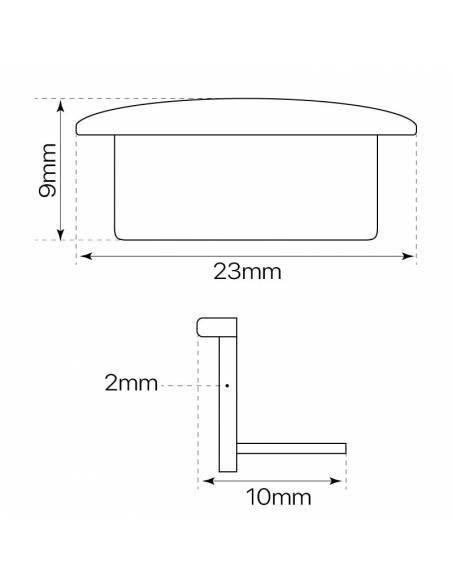 Tapa final para perfil aluminio S-173 de empotrar. Medidas y dimensiones.
