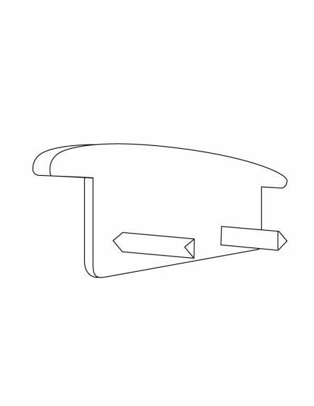 Tapa final para perfil aluminio S-173 de empotrar. Dibujo técnico.