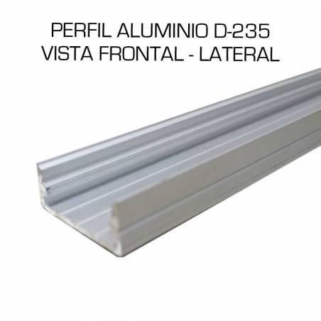 Perfil de aluminio D-235 de superficie, longitud de 2 metros, para tiras de led. Vista frontal y lateral.