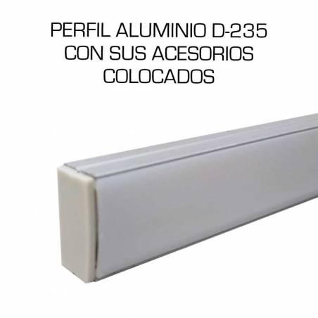 Perfil de aluminio D-235 de superficie, longitud de 2 metros, para tiras de led. Con sus accesorios colocados.