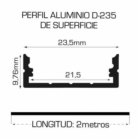 Perfil de aluminio D-235 de superficie, longitud de 2 metros, para tiras de led. Medidas.