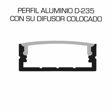 Perfil de aluminio D-235 de superficie, longitud de 2 metros, para tiras de led. Dibujo con su difusor colocado.