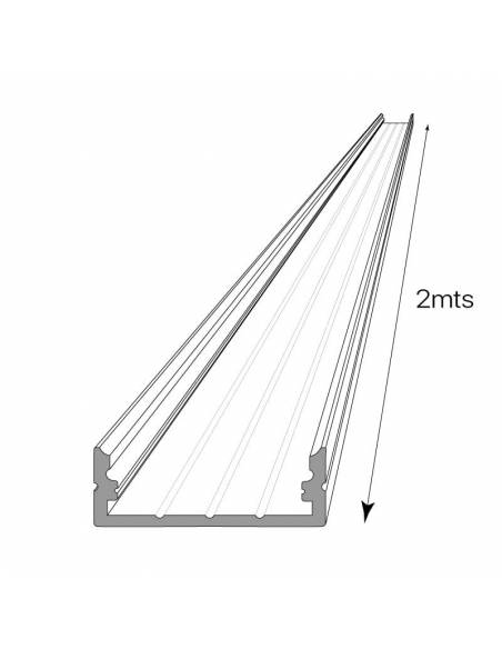 Perfil de aluminio D-235 de superficie, longitud de 2 metros, para tiras de led. Dibujo técnico y longitud.