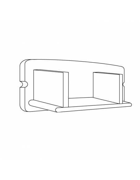 Tapa final para perfil aluminio D-235 para tiras led. Dibujo técnico.