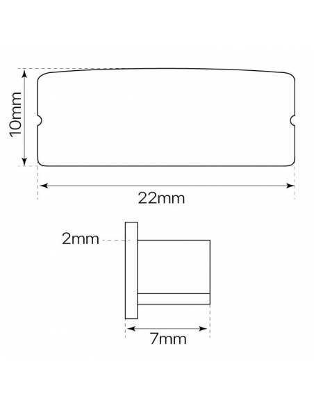 Tapa final para perfil aluminio D-235 para tiras led. Dimensiones y medidas.