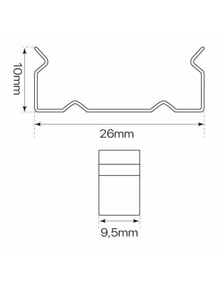 Clip metálico para perfil de aluminio D-235 para tiras de led. Medidas y dimensiones.