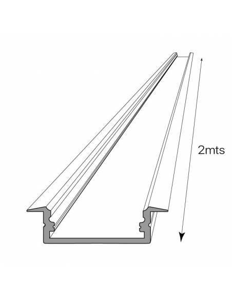 Perfil de aluminio, modelo D-235 de empotrar, para tiras de led. Dibujo técnico.