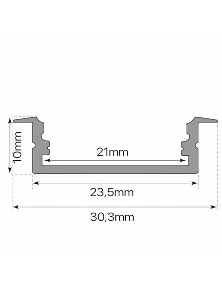 Perfil de aluminio, modelo D-235 de empotrar, para tiras de led. Medidas y dimensiones.