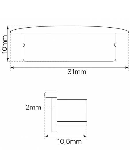 Tapa final para perfil de aluminio D-235 de empotrar, para tiras de led. Medidas y dimensiones.