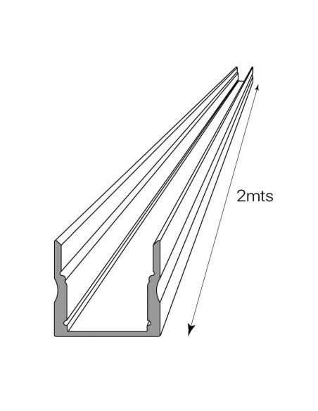 Perfil aluminio modelo S.ALTO-170 de 2 metros de longitud, para tiras de led. Dibujo técnico.