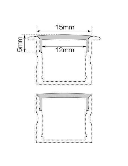 Difusor opal para perfil aluminio S.ALTO-170 de 2 metros. Dibujo con perfil y medidas
