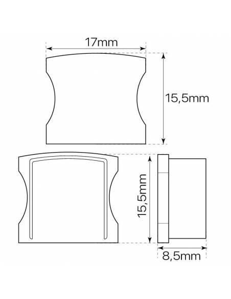 Tapa final de perfil aluminio S.ALTO-170 de superficie, para tiras de led. Dibujo con dimensiones y medidas.