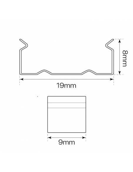 Clip metálico para perfil S.ALTO-170 metálico para tiras de led. Medidas