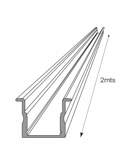 Perfil aluminio empotrable S.ALTO-170, para tiras de led. Dibujo técnico y longitud.