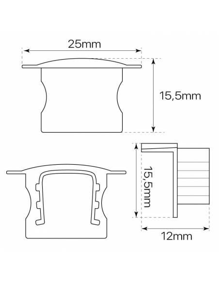 Tapa final para perfil aluminio S.ALTO-170 empotrable, para tiras de led. Dibujo con medidas.