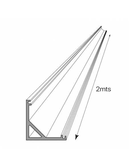 Perfil de aluminio E-163 ESQUINA de 2 metros, para tiras de led. Dibujo técnico.