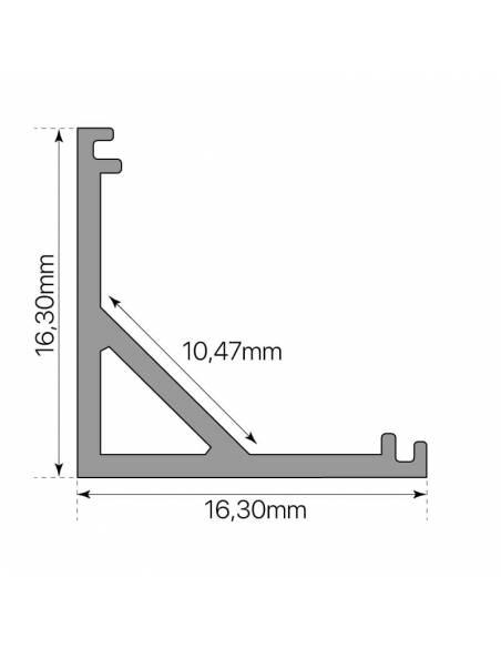 Perfil de aluminio E-163 ESQUINA de 2 metros, para tiras de led. Dibujo de medidas y dimensiones.