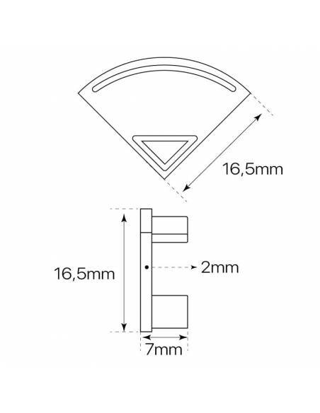 Tapa final para perfil aluminio E-163 de esquina, para tiras de led. Dibujo de medidas y dimensiones.