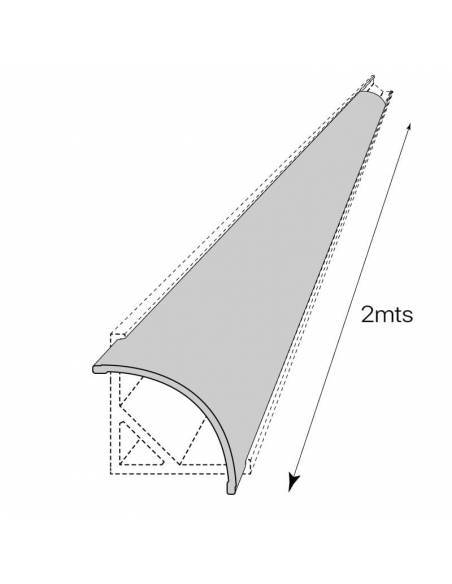 Difusor opal para perfil aluminio E-163, para tiras de led. Dibujo técnico.
