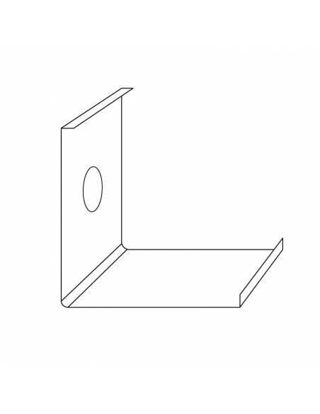 Clip metálico, grapa de sujeción del perfil E-163 de esquina, para tiras de led. Dibujo técnico.