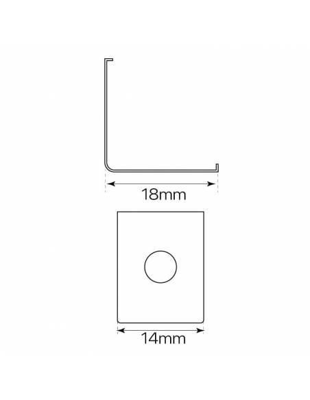 Clip metálico, grapa de sujeción del perfil E-163 de esquina, para tiras de led. Dibujo de dimensiones y medidas.