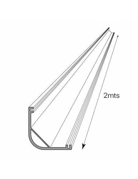 Perfil de aluminio E-297 de esquina, para tiras de led. Dibujo técnico.