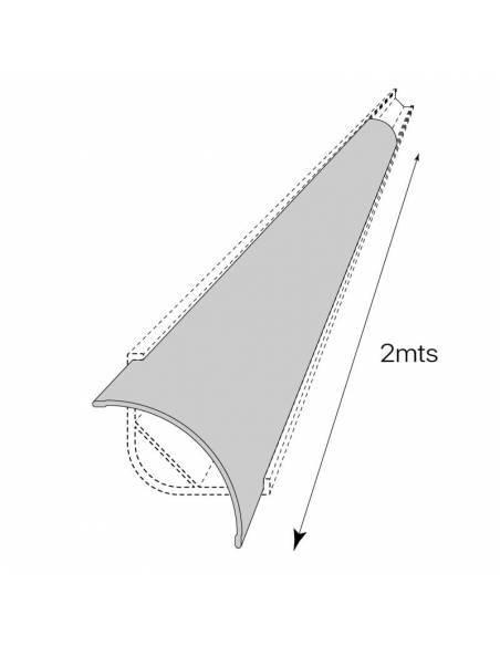 Difusor opal E-297 para perfil alumínio E-297 esquina, para tiras de led. Dibujo técnico.