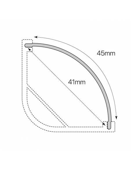 Difusor opal E-297 para perfil alumínio E-297 esquina, para tiras de led. Dibujo dimensiones y medidas.