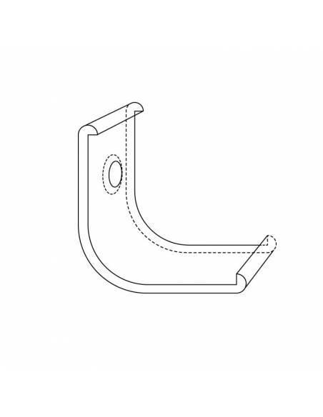 Clip de sujeción para perfil metálico E-297 de esquina, para tiras de led. Dibujo técnico.