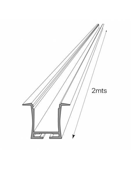 Perfil de aluminio D-360 de empotrar, para tiras de led. Dibujo técnico.