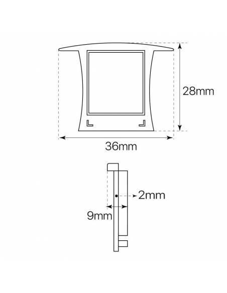 Tapa final de cierre para perfil de aluminio D-360 de empotrar. Dibujo técnico y medidas.