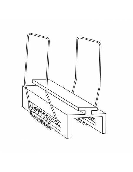 KIT metálico de pinza doble, para perfil D-360 de empotrar. Dibujo técnico.