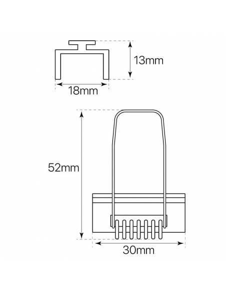 KIT metálico de pinza doble, para perfil D-360 de empotrar. Medidas y dimensiones.